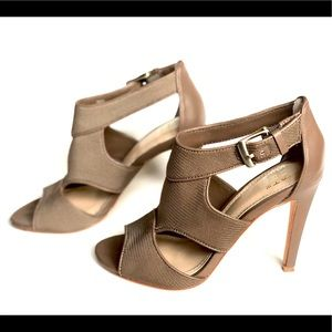 Saks Fifth Avenue Taupe Open Toe Heels Size 6M